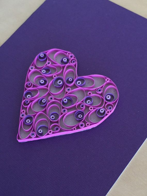 Quilling Paper Heart Shades of Purple Heart by ThePaperyCraftery