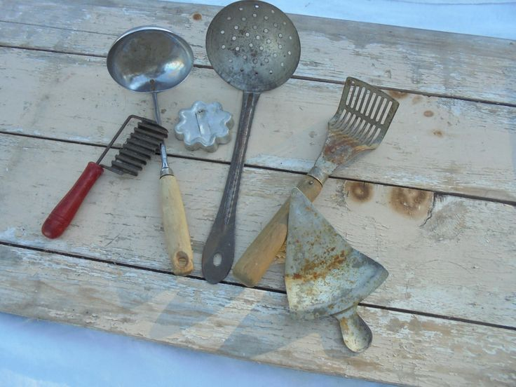 Vintage Primitive Kitchen Serving Utensils, Collection of Vintage Farmhouse Kitchen Decor, Lot of 6 Vintage Kitchen Devices by Imperfetions on Etsy