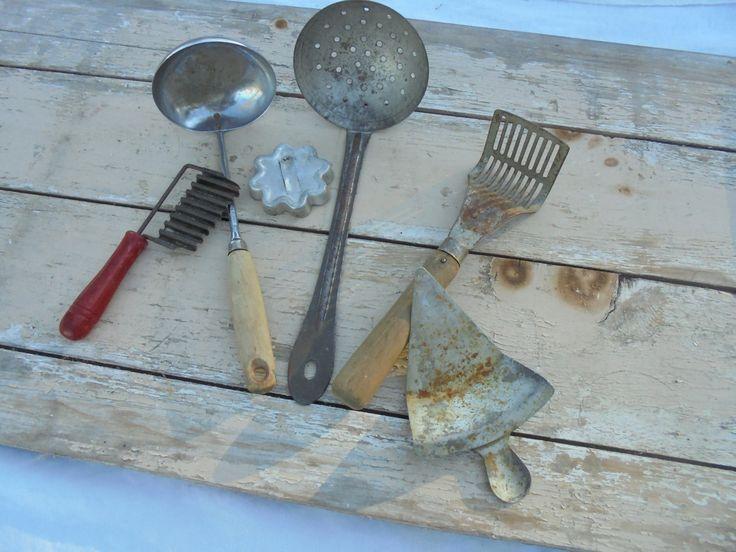 Vintage Primitive Kitchen Serving Utensils, Collection of Vintage Farmhouse Kitchen Decor, Lot of 6 Vintage Kitchen Devices by Imperfetions on Etsy