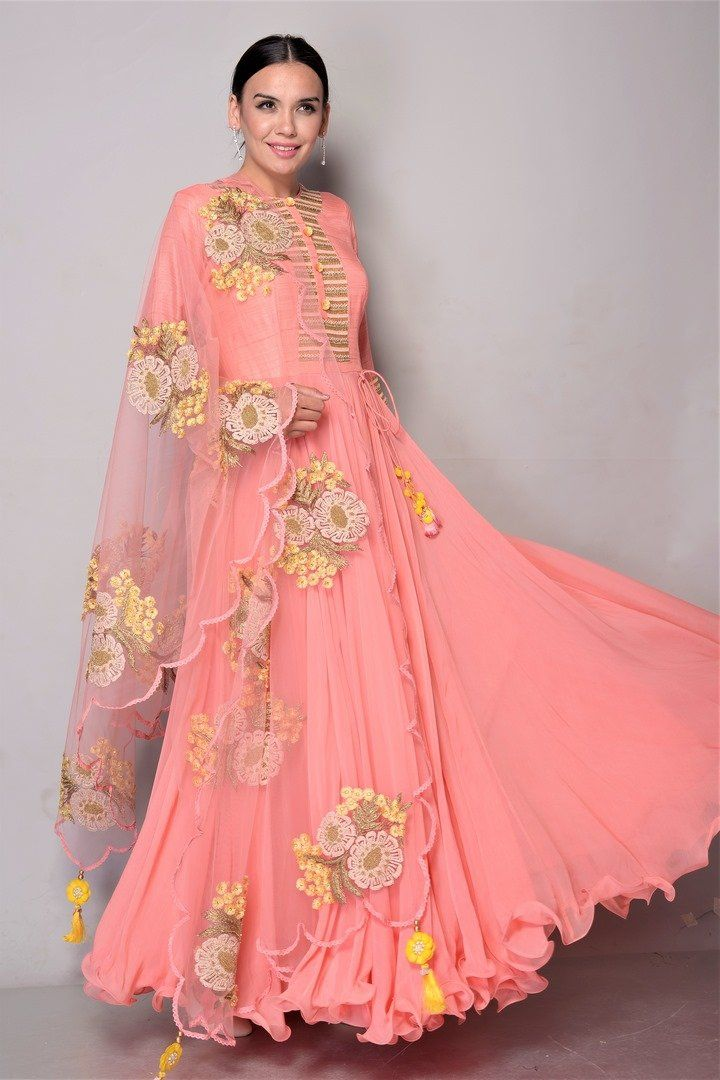 5ee59e925a4 501883D Dusty Pink Anarkali with 3D Boota Work Dupatta in 2019
