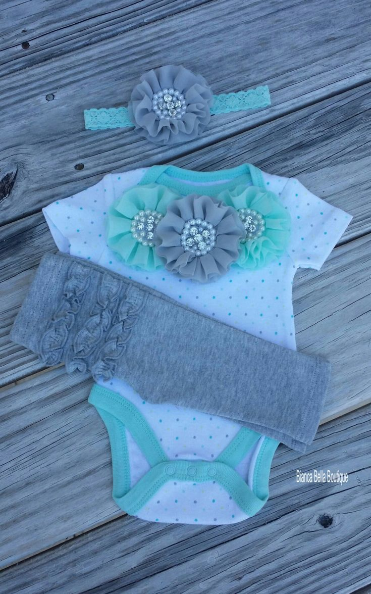 Newborn Outfit Coming Home Outfit Grey Mint Outfit Going Home Outfit Photo Prop Outfit Hospital Outfit by BiancaBellaBoutique on Etsy