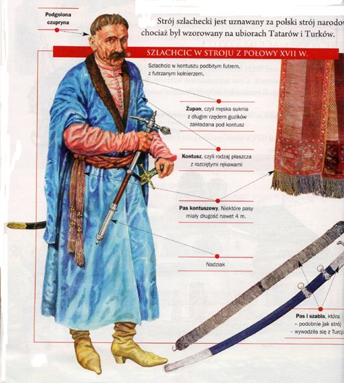 "A Polish noble man in the dress from the 17th century.    ""The clothing of the nobility is considered to be Polish national costume, although it was modeled on Tatars and Turks' outfits"""