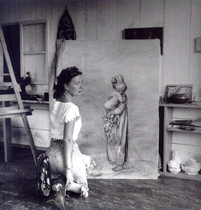 Dorothea Tanning in her studio, Sedona, Arizona, 1946