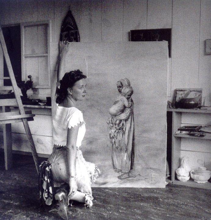 Dorothea Tanning in her studio, Sedona, Arizona, 1946
