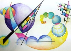 Kandinsky non-objective watercolor Pencil Painting