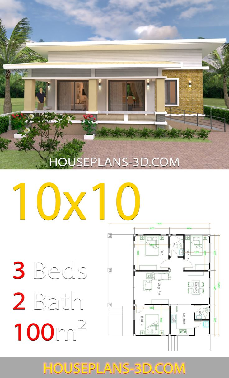 House Design Plans 10x10 with 3 Bedrooms full interior ...