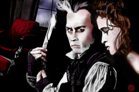 Sweeney Todd. iPad art. Just started playing around with the spraycan app.