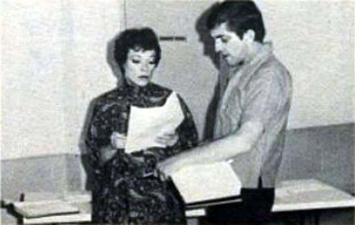 August 15, 1968. After the taping of episode #564, Grayson Hall and Jonathan Frid in a read through for the next day's show - Dark Shadows episode #565.
