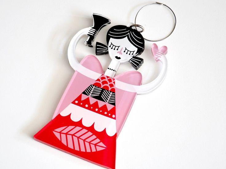 Pink Angel | Double face plexiglass art ornament | screenprinted & lazer cutted | 13 x 9 x 0.8 cm