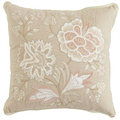 Blush Velvet Applique Flowers Pillow