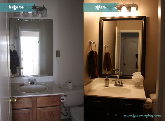 Diy powder room transformation before and after on - Diy bathroom remodel before and after ...