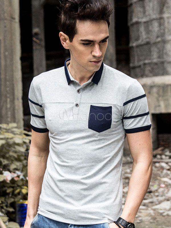 Polo De fibras de algodón de color-blocking de cuello vuelto con manga corta estilo moderno Moldelo Slim para ocasión informal