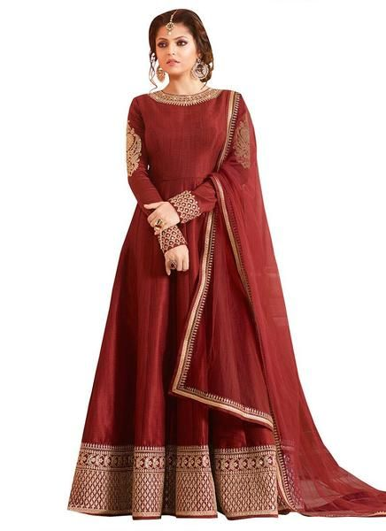 Look like beautiful Drashti Dhami in this maroon art raw silk anarkali suit with lucknowi cording work with sequin on lower part of the kameez and neckline. Com