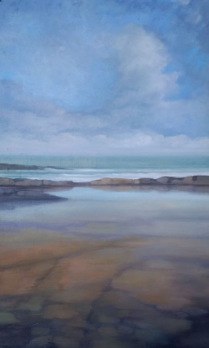 "'Evening Tide Pool 3' oil on panel 36"" x 20"" Morgan Ferriter 2017 http://bit.ly/29a6rK7 Creevy, Donegal, Ireland #art #paintings #Donegal #ireland #WildAtlanticWay www.morganferriter.com"