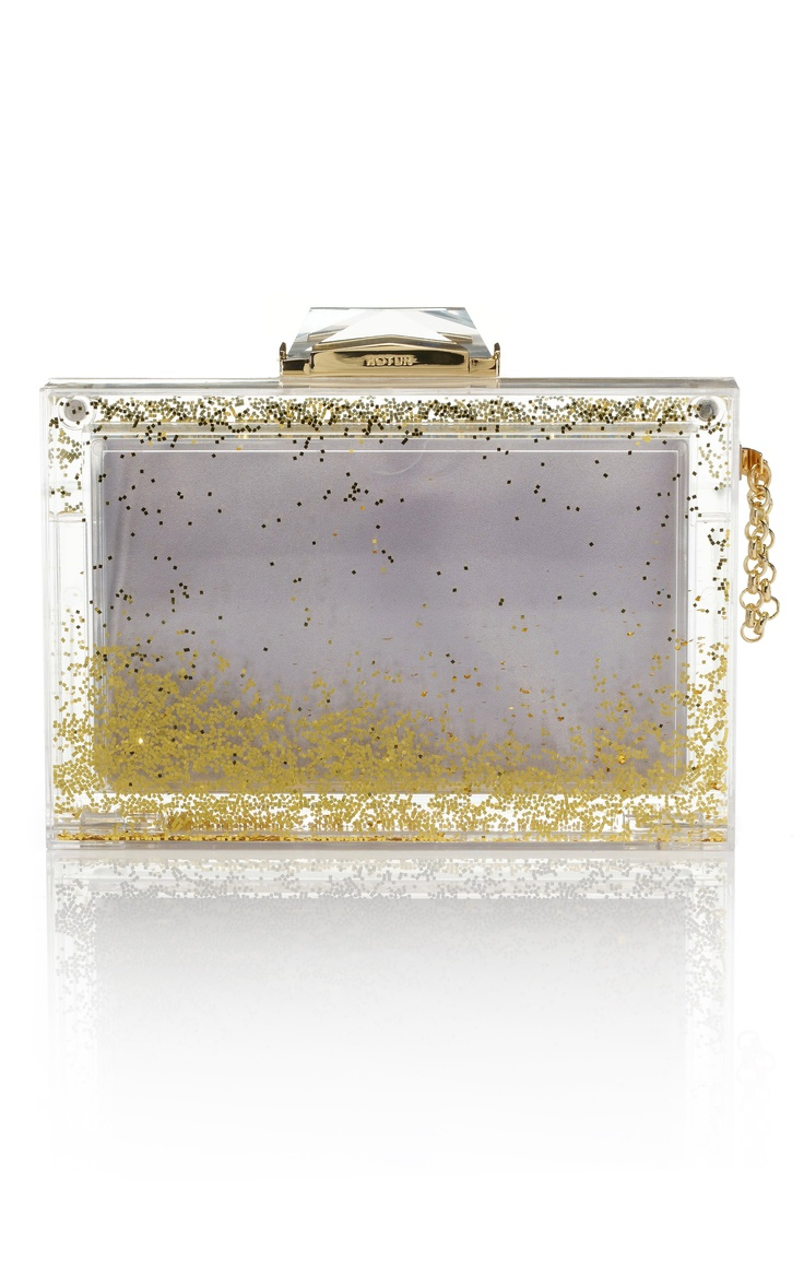 Shop Kotur Gold Glitter Snow Globe Clutch - don't you wish you had somewhere to take this?