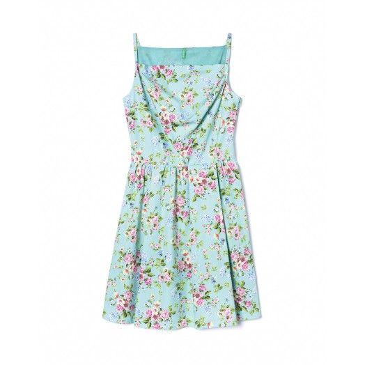 Vestido de algodão estampado com padrão floral - Benetton
