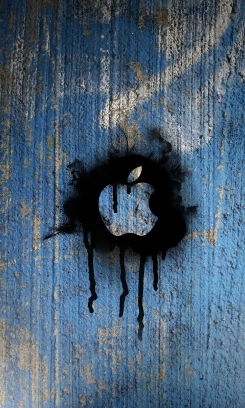 480x800 Wallpaper wall, stains, paint, mac, apple