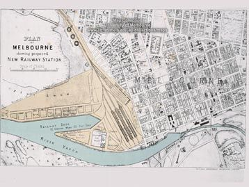 """Plan of Melbourne showing proposed new railway station"" Published: Melbourne : Railway Dept., 1878. Part of the University of Melbourne Maps Collection."