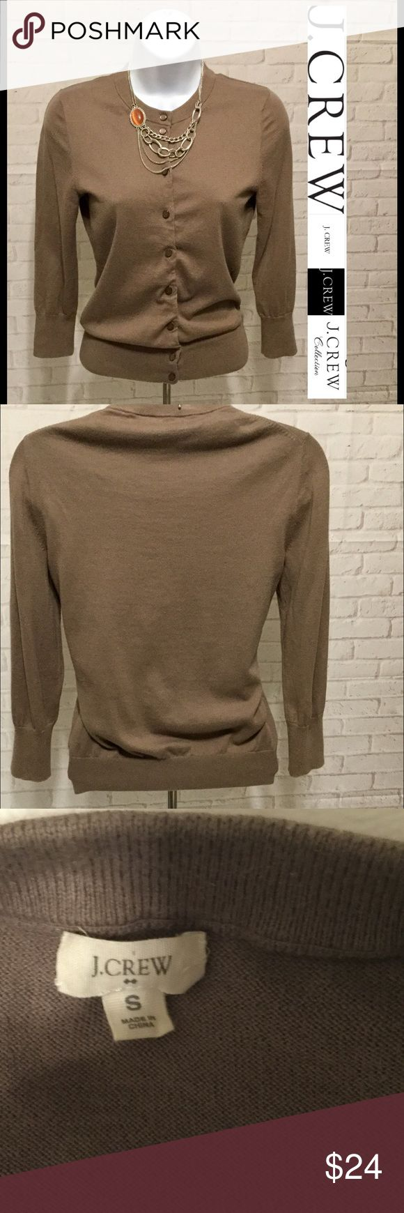 J. Crew sweater brown women's small 3/4 sleeve This sweater is in EXCELLENT CONDITION FLAWLESS and comes from a smoke free home 🏡.  Buy with confidence I am a top rated seller, mentor and fast shipper.  Don't forget to bundle and save.  Thank you. J. Crew Sweaters Cardigans