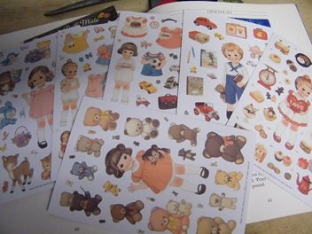 Cute Vintage style paper doll  Stickers
