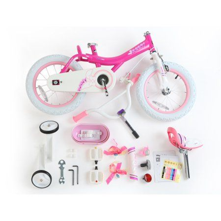 Bunny Girl's Bike, 14 inch Wheels with Basket and Training Wheels, Fuchsia, Pink