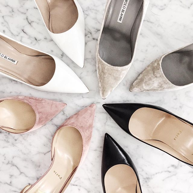 Neutral and velvet pumps as seen on For All Things Lovely | Manolo Blahnik and Christian Louboutin