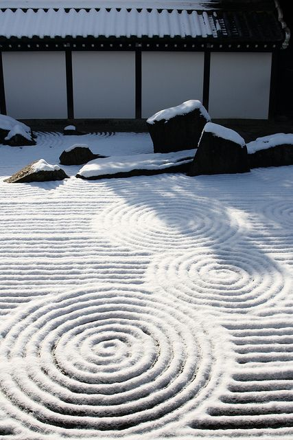 "bullstron: "" The snowy garden "" Japanese Zen rock garden in winter . Japan"