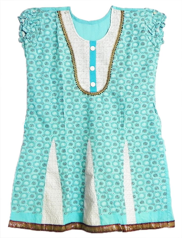 Embroidered Blue and White Puff Sleeve Top with Zari Border (Cotton)