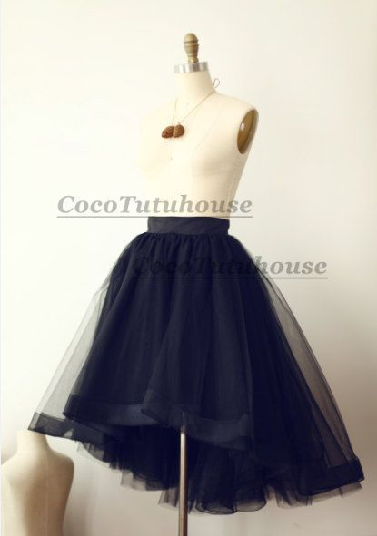 Jupon en tulle : Black Hi Low Tulle Skirt /Adult Women Horsehair Tulle Skirt Short Skirt//Wedding Dress Underskirt/Petticoat
