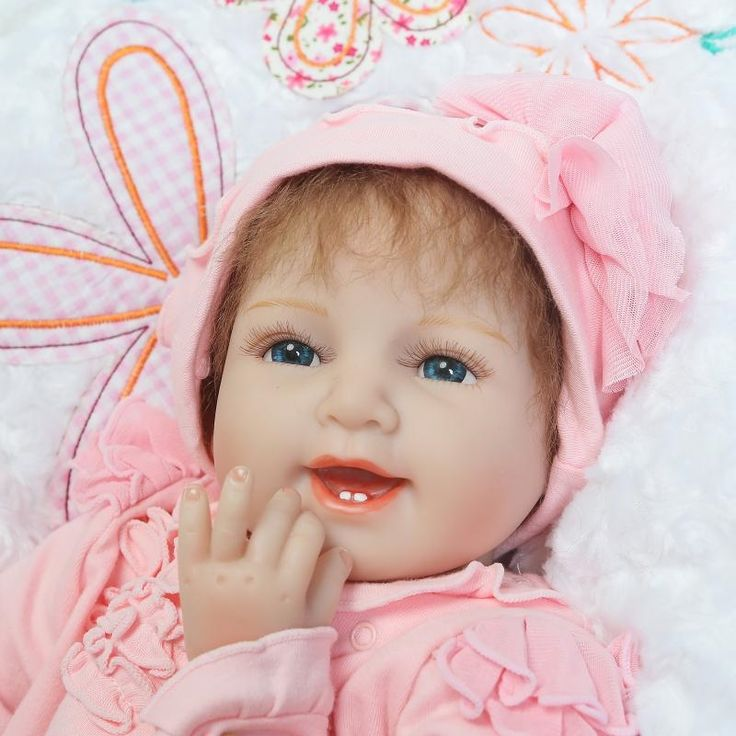 (77.38$)  Watch here - http://aicfx.worlditems.win/all/product.php?id=32799727431 - Unique 55cm 22inch Happy Smile Silicone Baby Doll For Sale With Pink Soft One Piece Rompers Whole Sale Good Price Bebe Reborn