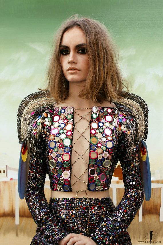 Mohenjo-daro mermaid top  Multi-coloured, multidimensional hand sewn sequins with hand-set mirror details
