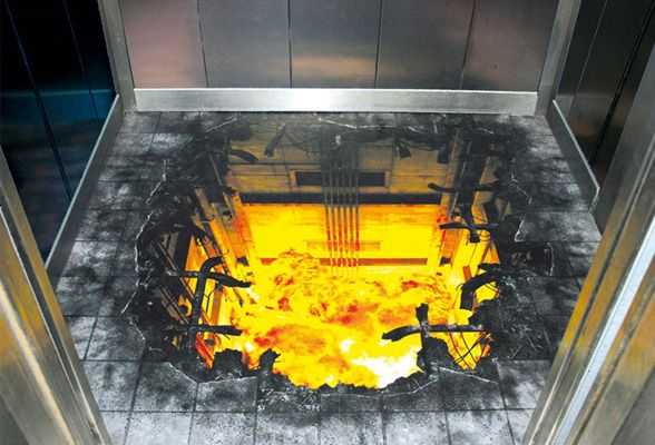 3D art - explosion of the elevator floor