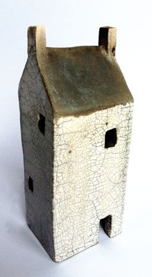 Raku ceramic house sculpture clay houses pottery raku art