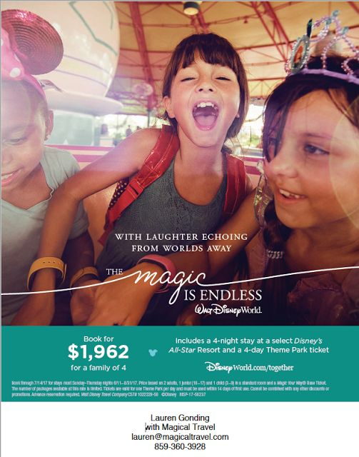 Walt Disney World Summer 2017 Vacation Package Deal! Email me, lauren@magiclatravel.com, to book your summer vacation to Disney World today!