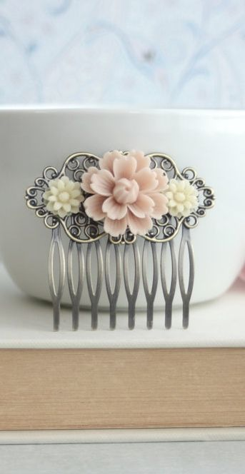 Blush Soft Pink Mum Flower, Ivory Daisy Mum Flower Collage Hair Comb, Bridesmaids Gift. Bridal. Blush Pink Rustic Wedding. Bridal Hair Clip by Marolsha - https://www.etsy.com/listing/157529943/blush-soft-pink-mum-flower-ivory-daisy?ref=shop_home_active_20&ga_search_query=dusty%2Bpink