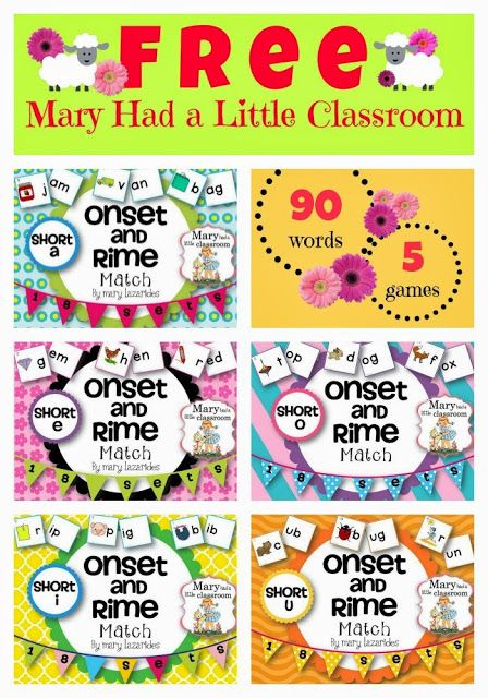 Onset and Rimes : Five Free Games for Teaching and  Practicing the Reading of CVC Words