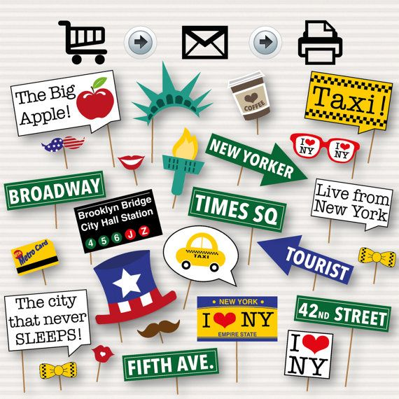 New York Party Photo Booth Printable Props  New by SurpriseINC