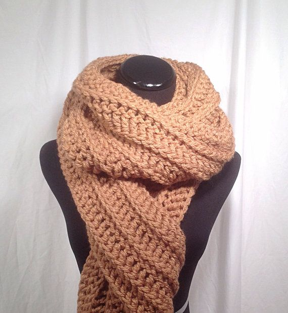 air jordan x  10  retro basketball shoes Camel Ribbed Crochet Oversize Scarf by DapperCatDesigns on Etsy