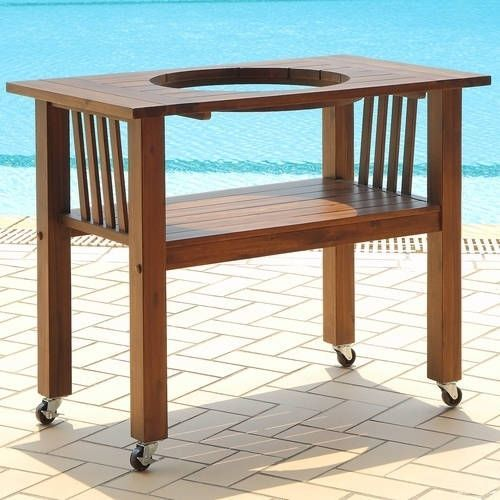 Duluth Forge Table for Medium Ceramic Charcoal (Grey) Kamado Grill and Smoker - Brown Spice (Wood)