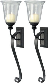 Amazon.com: Set of Two Candle Holder Sconces with Tall Hurricanes. Large Black Metal Wall Sconces for Candles: Furniture & Decor
