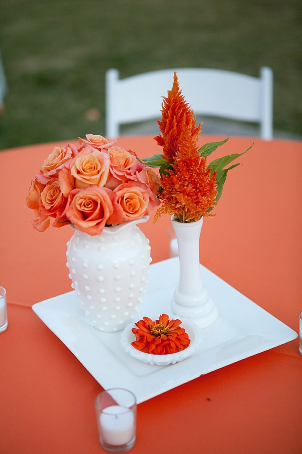 Orange fall outdoor wedding centerpieces MarieeAmi Flowers
