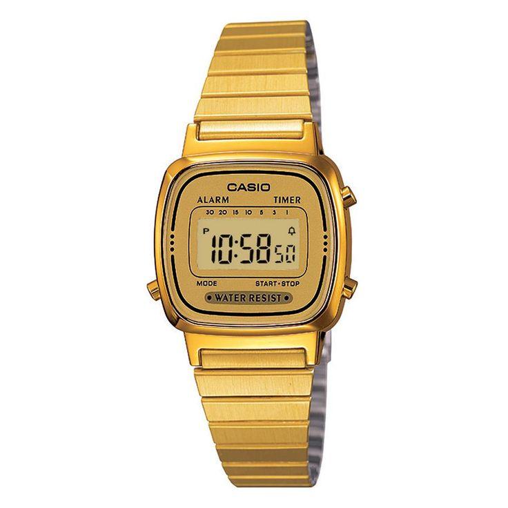 Relógio Feminino Casio, Cronômetro, Pulseira de Aço Inoxidável, Resistente à Água - LA670WGA-9DF - Casio com o melhor preço é no Walmart!