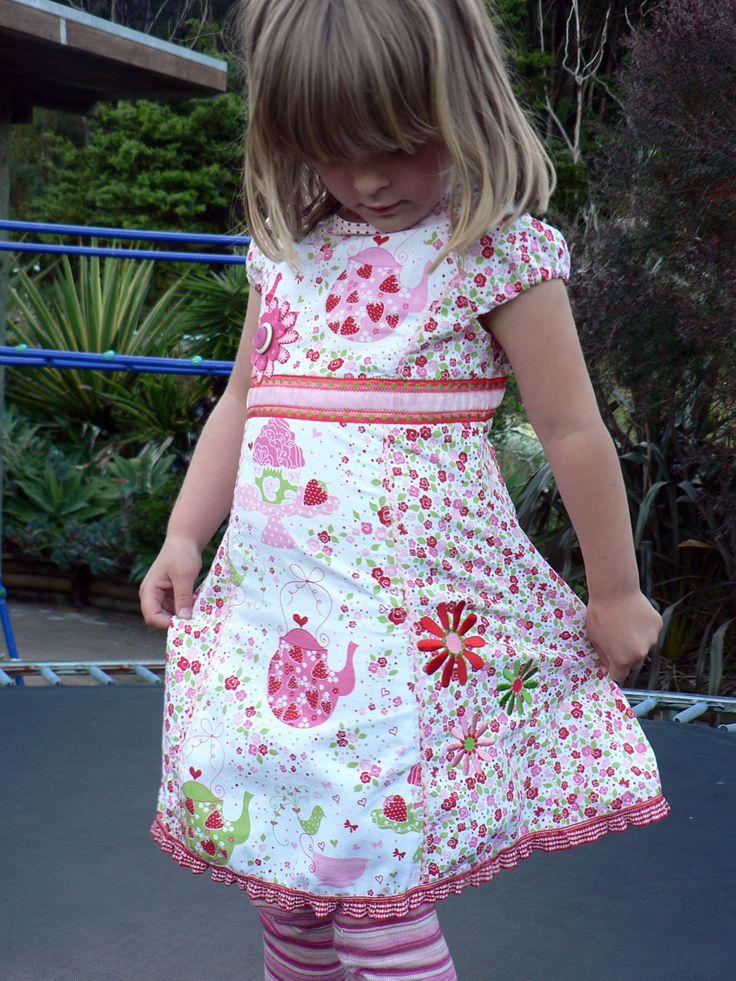 "Michael Miller Strawberry Tea Party dress...Pattern is Farbenmix ""Roxy"""