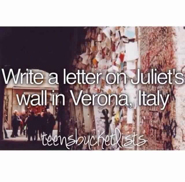 Write a letter to place in Juliet's Wall in Verona, Italy