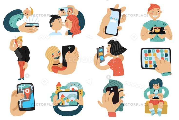 Set of people with mobile phones during calls, video chat, game, selfie, internet search isolated vector illustration