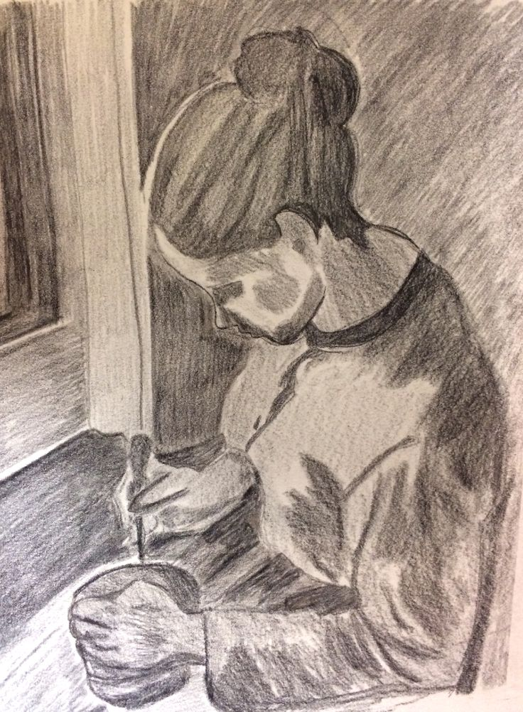 """My own sketch of """"Peasant girl drinking coffee"""" by Camille Pissarro. #1881 #carbon #paper"""