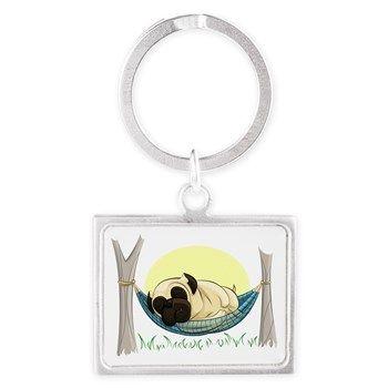 Pug In A Hammock Landscape Keychain from cafepress store: AGPaintedBrushT-Shirts. #keychain #pug #Summer