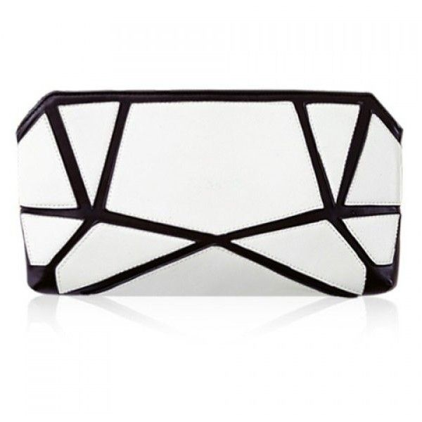 Stylish Geometric Print and Color Block Design Women's Clutch Bag (820 PHP) ❤ liked on Polyvore featuring bags, handbags, clutches, white handbags, white clutches, color block purse, geometric purse and colorblock purse