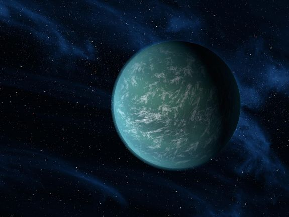Kepler-22b, known to comfortably circle in the habitable zone of a sun-like star. 2.38 X the radius of Earth