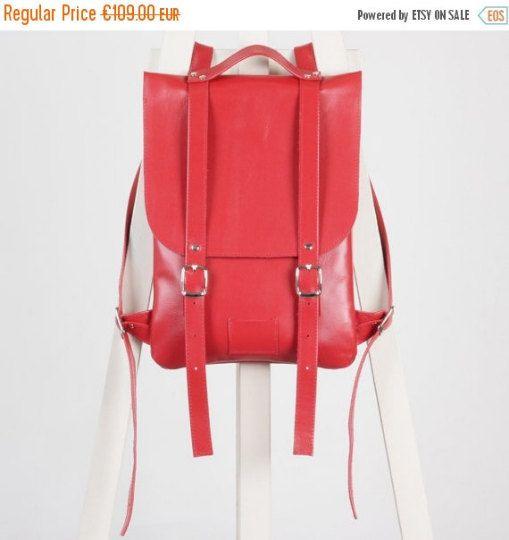 SALE / Hot red leather backpack rucksack / In stock / Red genuine leather minimalist backpackrucksackkokosinasimple backpackknapsackback to school leather rucksack women woman girls gift